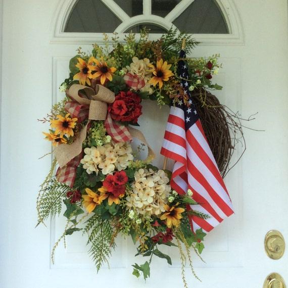 Patriotic Wreath Americana Wreath American Flag Wreath Summer