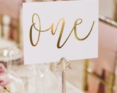 Notulen Gold Foil Table Numbers - Gold Table Number Cards - Two Sided - Wedding Table Numbers with Gold Foil #TN101G