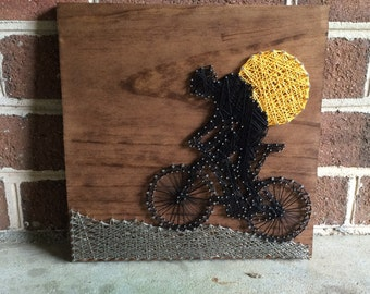 Bicyclist String Art Wood Sign, Bicycling, Bike, Bicycle, Outdoors, Home Decor- MADE TO ORDER