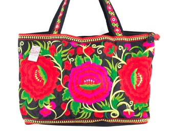 Beautiful Flower Hill Tribe Tote Bag Hmong Embroidered Ethnc Style Fair Trade (BG314BLA3FFS)