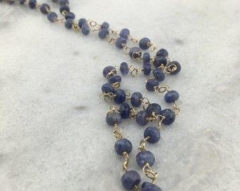 Tanzanite Exotic Natural Faceted Genuine Rondelles 14k Gold Filled Wire Wrapped Statement Necklace with Heart Dangle - December Birthstone
