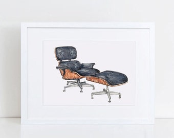 Iconic Furniture Wall Decor - Black Eames Lounge Chair Watercolor - Original Art Print