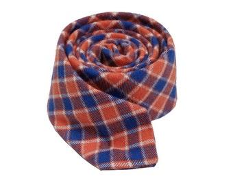 Mens Skinny ties.Orange And Blue Cotton Neckties.Plaid Wedding Ties.Mens Check Ties.Casual Neckties