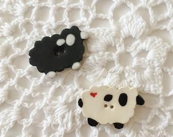 Ceramic Sheep Button, Black Sheep, Farm Button