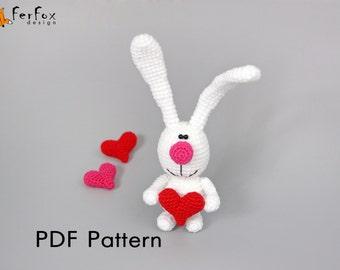 Crochet Bunny pattern Bunny with heart crochet pattern Valentines PDF pattern Amigurumi pattern Rabbit pattern Tutorial DIY toy pattern