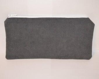 Gray Corduroy Pencil Pouch