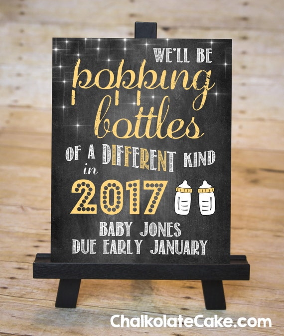 new year baby pregnancy announcement chalkboard sign january