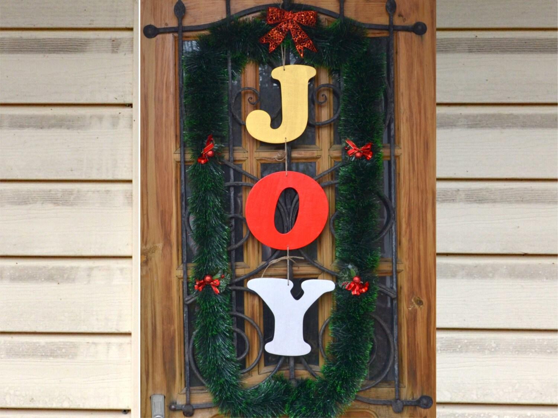 Joy Letters Christmas Decorations Door Rustic Christmas Decor