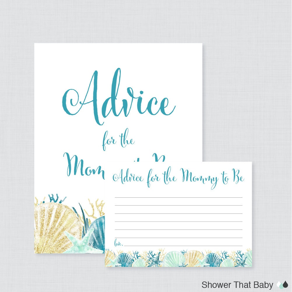 beach themed baby shower advice for mommy to be cards and sign