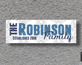 Personalized Last Name Wall Canvas - Custom Colors