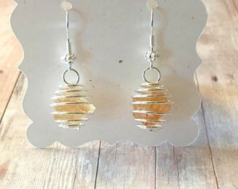 Raw Citrine Earrings, Gemstone Earrings, November Birthstone, Silver Earrings, Yellow Earrings, Crystal Boho Earrings, Natural Citrine