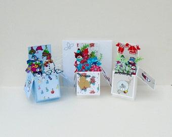 3D Christmas Card, Pop Up Xmas Box Card, Handmade Holiday Box, Surprise Pop Up Card, Happy Holidays Card, Holiday Season Card, Pop Up Box,