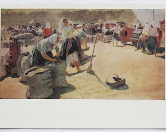 Bread / Harvesting - Artist T. Yablonskaya - Vintage Soviet Postcard, 1961. Izogiz Publ. Women, Peasant, Grain