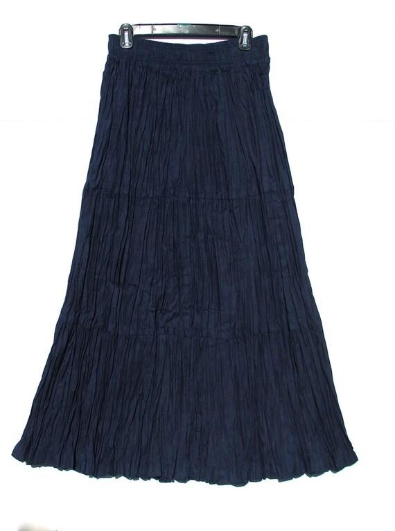 blue denim broomstick pleated skirt santa fe