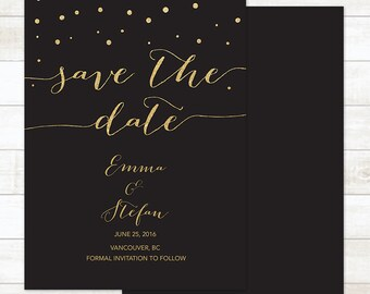black gold save the date card, save the date invitation, save the date announcement, save the date printable, wedding announcement