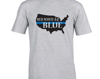 Fast shipping!  Red White & BLUE. Back the blue tshirt.  Thin blue line.  Boys in blue.  USA tshirt.  Thin blue line USA outline shirt