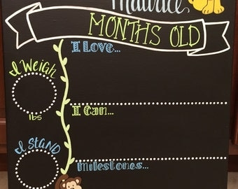 Custom hand painted Reusable Baby's monthly milestone chalkboard, month to month, baby's progress chart, month by month, monthly sticker