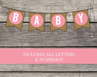 Leopard Print Bunting Banner - Instant Download Flag Banner for Baby Shower - Animal Print Decor - Baby-118