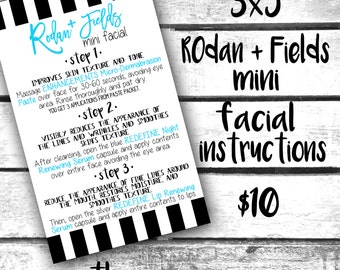Rodan + Fields Mini Facial Instruction Cards! 3x5