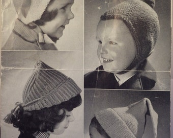 Original Vintage Knitting Pattern Children's Hats 1940s / 1950s