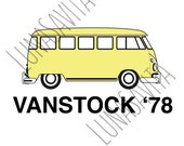 VW Bus Vanstock '78 Design SVG, DXF Files for Cricut Design Space, Silhouette Studio, Die Cut Machines, Instant Download of svg, dxf, & jpg