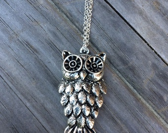 Owl charm necklace, Bird Necklace, Owl necklace, Boho Necklace, Indie Necklace