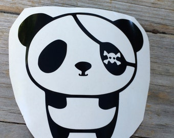 Pirate Panda Vinyl Decal, Vinyl Stickers, Laptop Decal, Panda Sticker, Mountain Laptop Sticker, Car Decal