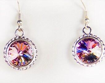 Earrings, crystal earrings, crystal jewelry, Swarovski crystal, crystal, vitrail light crystal, silver plate bezel, surgical steel earwire,
