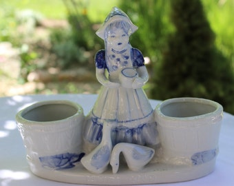 Porcelain Blue White Planter, Pencil Holder, Desk Organizer, Holland, Dutch Porcelain, Bloom-Rite