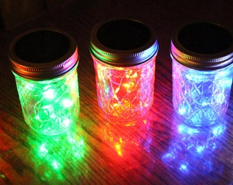 Jelly Jar with Solar Lid - Angel Lights - Firefly Lights - solar mason jar, mason jar light, solar light, mason jar solar light