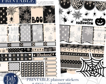 HALLOWEEN decoration spider web printable planner stickers. Black widow for Mambi Happy Planner weekly printables.