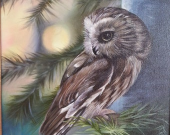 Original Oil Painting, Saw Whet Owl