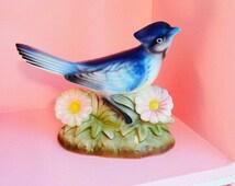 Beautiful blue jay japan porcelain bird figurine with flowers