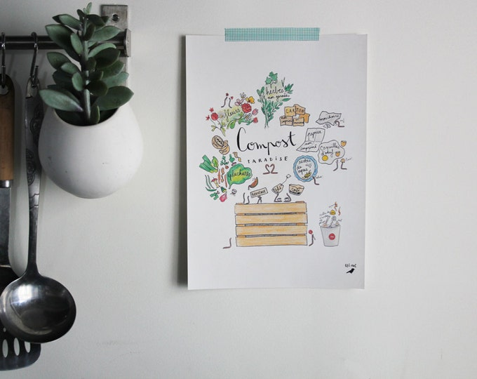 """A4 poster illustrated """"Compost Paradise"""" - ink and watercolor pencil drawing - kitchen decor"""