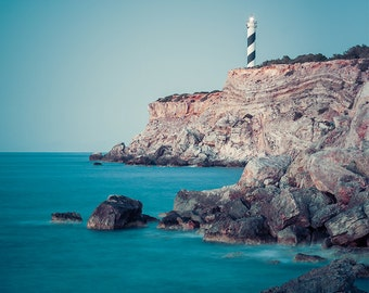 "Lighthouse Photography - Dusk Photography - Ibiza - Spain - Wall Art - Seascape - Sea Wall Art - Fine Art Photography  - ""Moscarter"""
