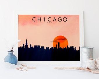 Chicago Minimalist Print - US City Skylines - Minimalist Style Art Print - Wall Art - Home Decor - Wall Art Prints - Minimalist Art - Poster