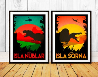 Jurassic Park Travel Poster Set - Isla Nublar & Sorna, Site A+B - Wall Art Print - (Available In Many Sizes)