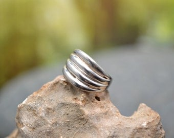 Sterling Silver Modern Wide Band Ring Faux Stack Ring