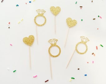 Set of 12 bridal shower, engagement party cupcake toppers, gold ring, gold heart cupcake toppers.