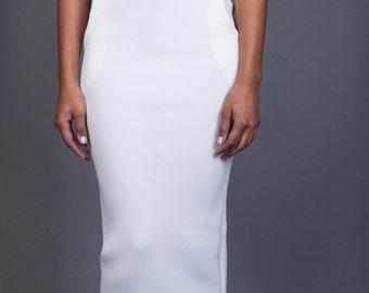 White Neoprene skirt and top