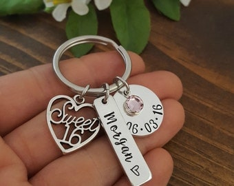 Sweet 16 Keychain | 16th Birthday Gift | Personalized Sweet 16 Keychain | Gifts For Daughter Sweet 16 Birthday | Gift For 16th Birthday
