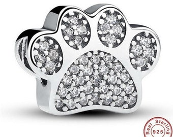 Paw Prints Charm fit Pandora Bracelet 925 Sterling Silver ,Pandora Charm, First Anniversary Gift for Her, Pandora Beads Bracelet Charms