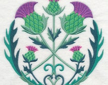 CELTIC THISTLE CIRCLE Gaelic Floral Symbol Machine Embroidered Quilt Block, Panel, Focal Square