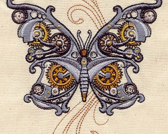 STEAMPUNK BUTTERFLY EDGY Cog Wheel Mechanical Art Machine Embroidered Quilt Square, Art Panel