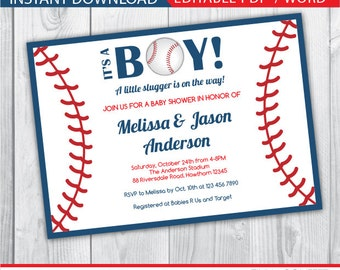 baseball baby shower invitations / baseball invitation / baseball party invitation / baseball invites / baseball baby shower invites INSTANT
