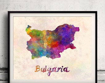 Bulgaria - Map in watercolor - Fine Art Print Glicee Poster Decor Home Gift Illustration Wall Art Countries Colorful - SKU 1882