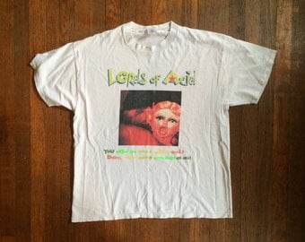 Vintage 1990s LORDS OF ACID 'Our Little Secret' Distressed Concert Tour T-Shirt Size Extra Large Goth Hardcore Techno Hipster