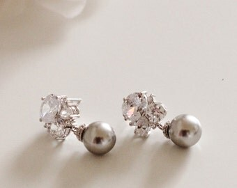 Pearl Bridal Earrings Swarovski Gray Pearl Earrings Mother of the Bride Gift Mother of the Groom Gift Art Deco Wedding Jewelry Bridesmaid