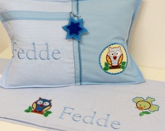 XL Decorative Pillow/Owl With Name Child & Inner Cushion, Cotton, Fabric,