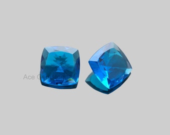 Swiss London Blue Quartz Cushion Cut Faceted Loose Gemstone Cushion 16mm, Special Piece for making jewelry - 2 Pcs.